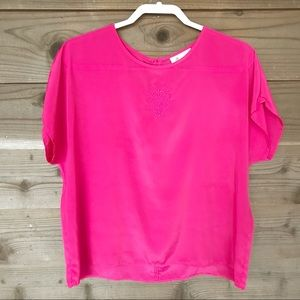 Joanna Hot Pink Embroidered S/S Blouse Lg